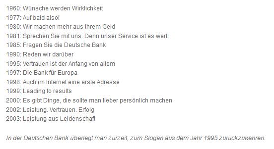 Deutsche Bank Slogans