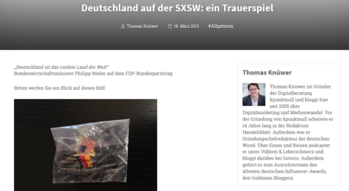 Artikelbild für: Messeblamage auf deutsch: Deutschland auf der Digitalkonferenz SXSW in den USA