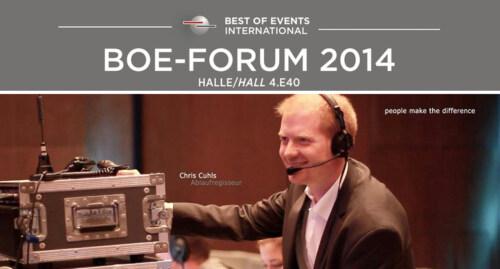 Artikelbild für: Eventkonzept & Inszenierung: über Aufbau, Erfolgsfaktoren und Missverständnisse – BOE FORUM 2014