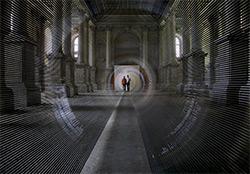 """Artikelbild für: Verblüffende Perspektiven dank Magnetband: Installation """"Tube"""" von Zilvinas Kempinas"""