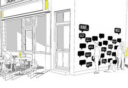 Artikelbild für: Schwarzes Brett als Networking-Hilfe für Events – neu belebt als analoge Tweetwall