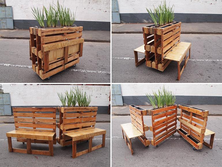 Recyclete, mobile Sitzbänke aus alten Holzpaletten: \
