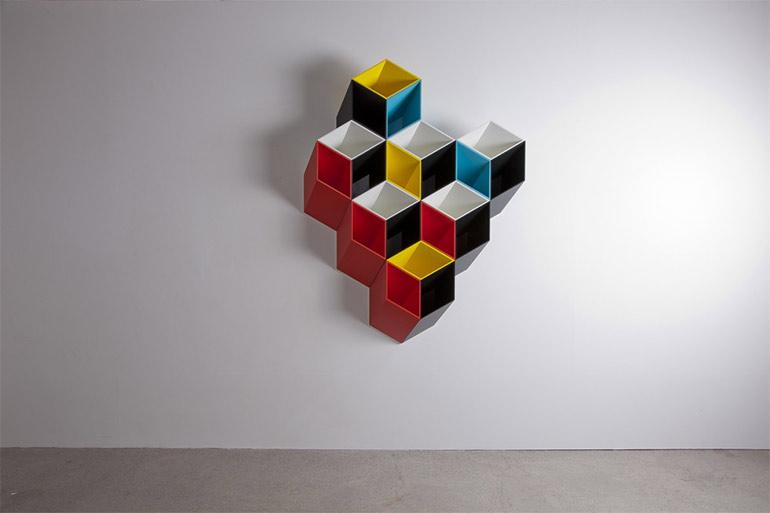 Artikelbild für: Ein Spiel mit räumlichen Dimensionen: 2D oder 3D? Designer Regalsystem Imeuble