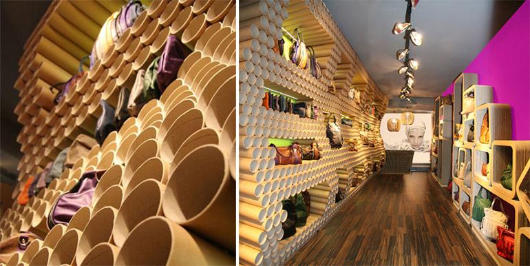 Wandgestaltung-Shopdesign-aus-Papprohren-eBarrito