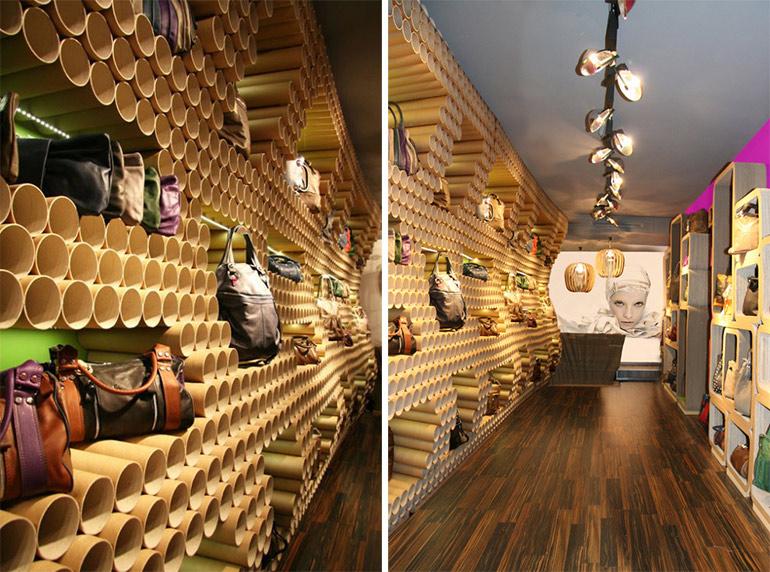 Wandgestaltung-Shopdesign-aus-Papprohren