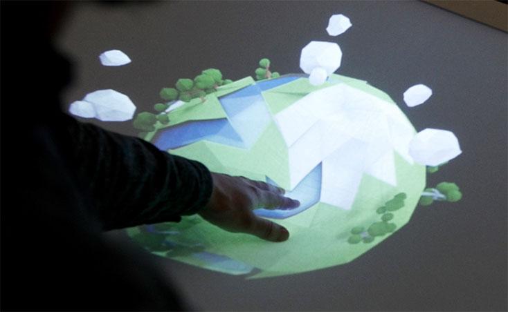 Kreek-dreidimensionales-Multitouchinterface-elastische-Projektionsflaeche