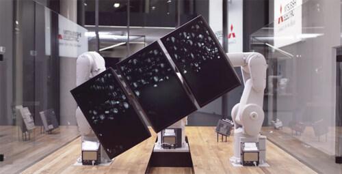 """Artikelbild für: Faszinierende Roboter Installation """"Threebots"""""""