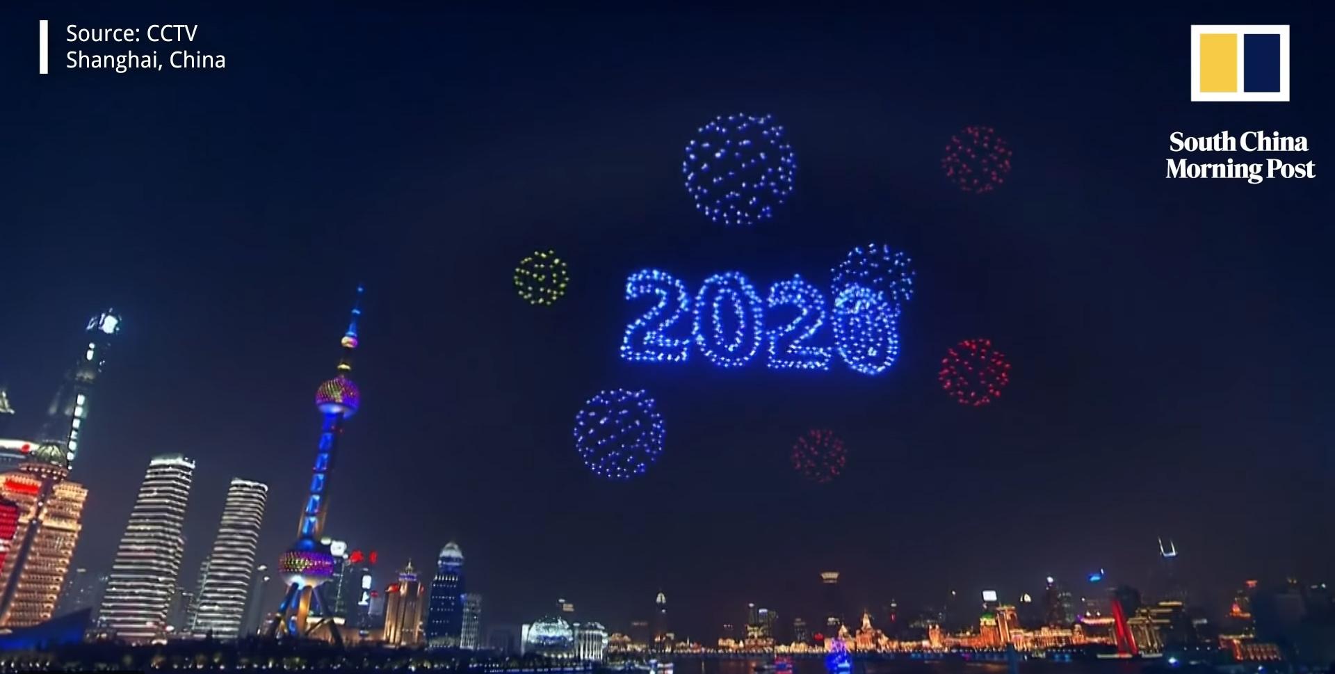 silvester 2020 drohnen show in shanhgai