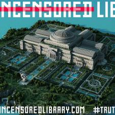 """Poster der """"Uncensored Library"""" mit einem gewaltigen Kuppelbau bei Minecraft"""